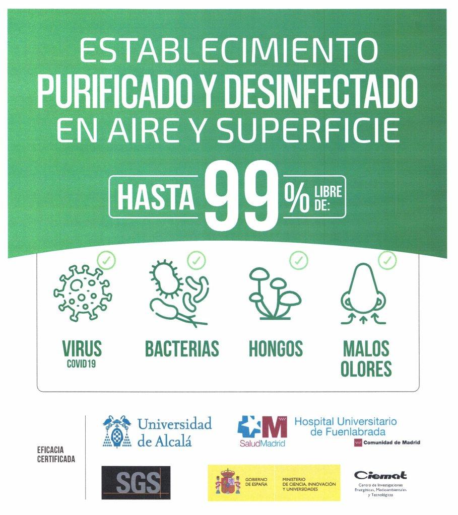 Establecimiento purificado y desinfectado en aire y superficie. Hasta un 99% libre de virus (covid19), bacterias, hongos y malos olores
